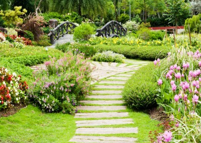 Stone pathways and landscaping