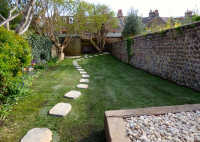 Lawn and paving stones